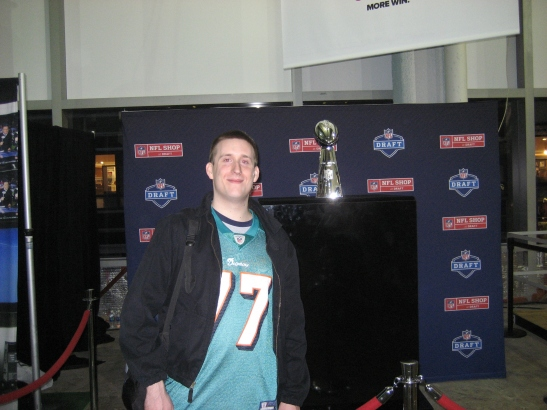 Yaros with the Lombardi Trophy